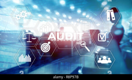 Audit Conduct an official financial examination of individuals or organizations accounts. Business concept on virtual screen. - Stock Photo