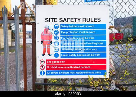 Building Site Health and Safety Sign Pictorial - Stock Photo