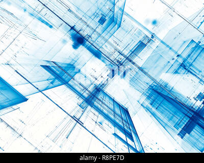 White and blue tech or sci-fi background - abstract computer-generated 3d illustration. Contemporary digital art: diagonal inclined walls with chaos l - Stock Photo