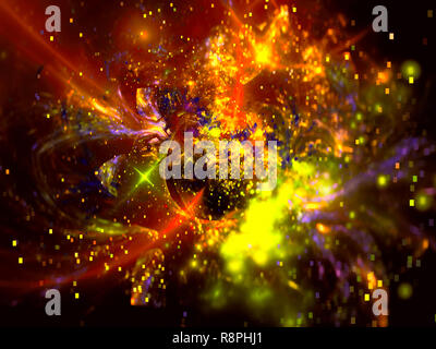 Blurred colorful background with sparks and dots - abstract computer-generated image. Festive blur with bokeh for backdrops, cards, covers.