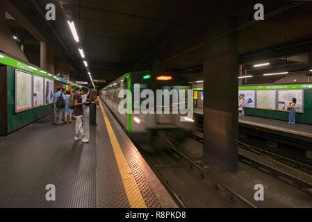 Horizontal view of the Metro in Milan, Italy. - Stock Photo