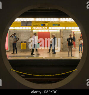 Square view of the Metro in Milan, Italy. - Stock Photo