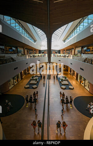 Vertical view inside the CityLife shopping centre in Milan, Italy. - Stock Photo