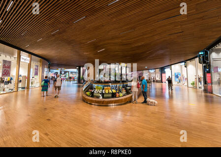 Horizontal view inside the CityLife shopping centre in Milan, Italy. - Stock Photo