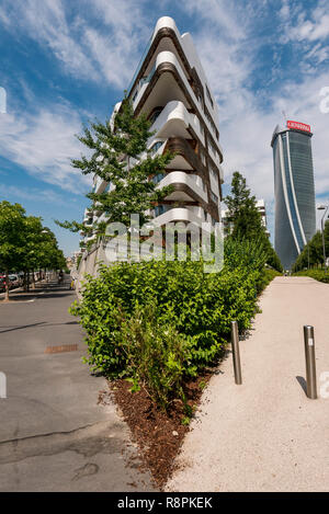 Vertical view of the Hadid residences in Milan, Italy. - Stock Photo