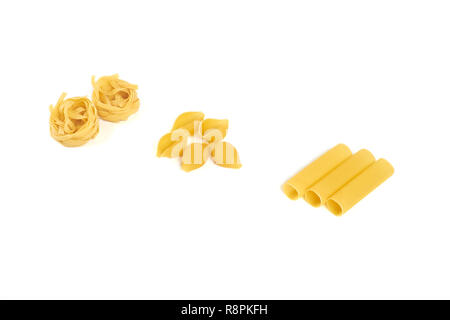 different pasta varieties isolated on white background. - Stock Photo