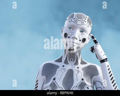 3D rendering of a female robot looking like she is thinking about something using her artificial intelligence. - Stock Photo