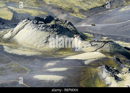 Iceland, South Iceland, Sudurland Region, national park of Skaftafell, volcanic region of Lakagigar, crater, 4x4 on the track F207 - Stock Photo