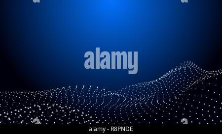 Dark blue abstract wavy dots grid fiber technology background - Stock Photo
