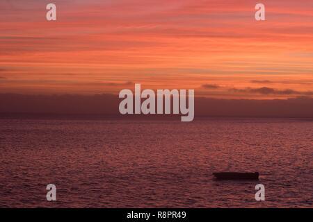 Mexico, Baja California Sur, Puerto San Carlos, Magdalena Bay (Madelaine Bay), sunset - Stock Photo