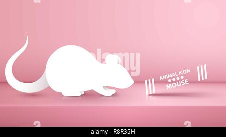 Animal rat, mouse illustration on the pink studio. - Stock Photo