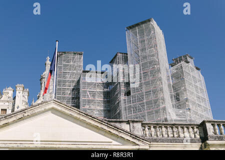 Restoration work on the roof of the Château de Chambord in the Loire Valley, France, - Stock Photo
