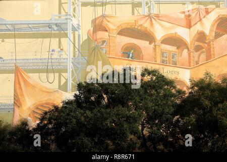 France, Rhone, Lyon, 5th district, Old Lyon district, historical site listed as World Heritage by UNESCO, Ennemont Fousseret square, Fresco of the Cour des Loges - Stock Photo