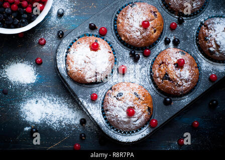 Muffins with red and black currant sprinkled with powdered sugar. - Stock Photo