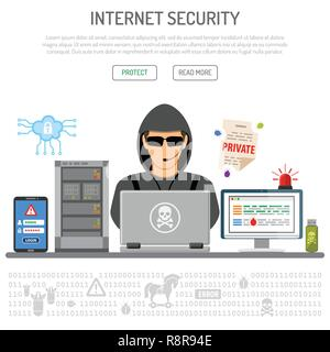 Cyber Crime, Hacking, Internet Security Concept - Stock Photo