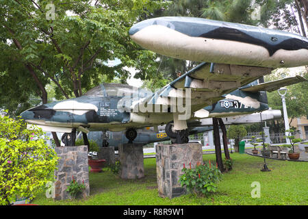 Ho Chi Minh City, Vietnam - captured former American USAF A-37B fighter jet on display in the city centre - Stock Photo
