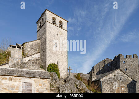France, Aveyron (12), La Couvertoirade, labellisé Les Plus Beaux Villages de France, - Stock Photo