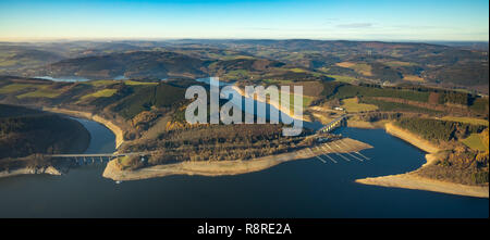 Aerial view, dam Lister dam, Biggesee, Bigge dam, reservoir, low water, lack of water, drought,, Kraghammer, Attendorn, Sauerland, North Rhine-Westpha - Stock Photo