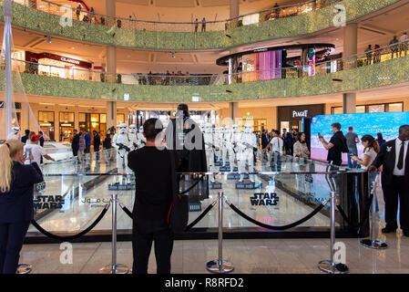 Dubai, United Arab Emirates - December 11, 2018: Star wars characters show in Dubai mall - Stock Photo