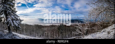 Winter Landscape Panorama, Rhoen, Thuringia - Stock Photo
