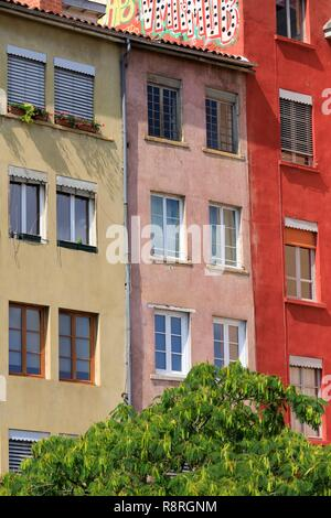 France, Rhone, Lyon, 5th district, Old Lyon district, historical site classified World Heritage by UNESCO, quai Fulchiron - Stock Photo