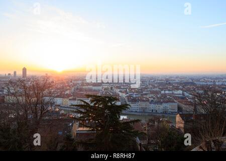 France, Rhône, Lyon, 5th district, La Saône, view of the 2nd district - Stock Photo