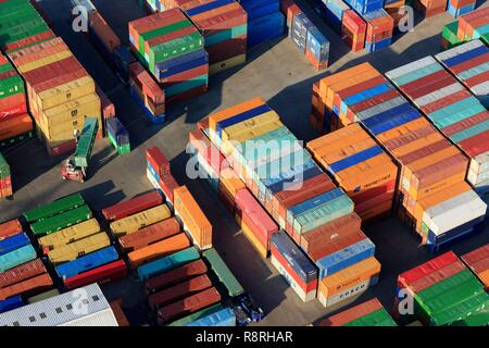 France, Rhône, Lyon, 7th district, Gerland district, Edouard Herriot harbor (aerial view) - Stock Photo