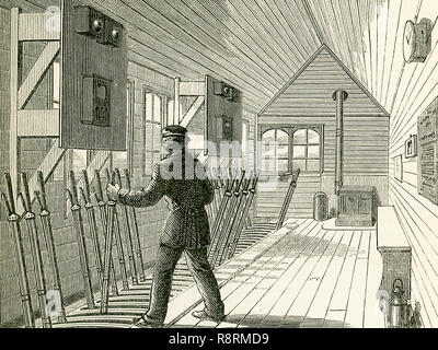 """This illustration dates to the 1870s and shows the signal box on the North London Railway. The interior of a signal-box near an important junction or station is shown here, and we see here the numerous levers for working the points and the signals, each of these having a connection, by rods or wires, with the corresponding point or signal-post. The electric telegraph is now an important agent in railway signalling, and in a signal-box we may see the bells and instruments which inform the pointsman whether a certain section of the line is """"blocked"""" or """"clear."""" The signals now generally used on  - Stock Photo"""