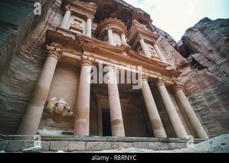 El Hazne famous rock temple-mausoleum, Treasury of Pharaoh. in the ancient city of Petra, Jordan: Incredible UNESCO World Heritage Site. An ancient st - Stock Photo