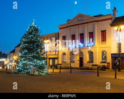 Christmas Tree in the Marketn Place and Town Hall at dusk Ripon North Yorkshire England - Stock Photo