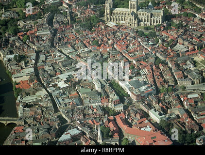 Aerial photo of City of York showing the Minster and the town centre - Stock Photo