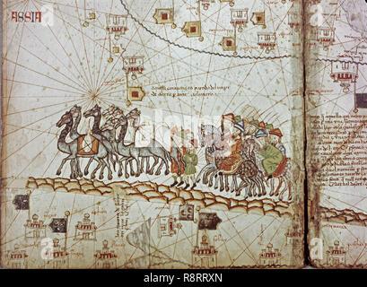 CARAVANA ORIENTAL DE CAMELLOS Y CAMELLEROS-ATLAS CATALAN-SIGLO XIV. Author: CRESQUES, ABRAHAM. Location: NATIONAL LIBRARY. France. Stock Photo