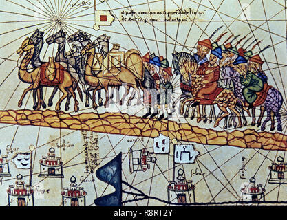 ATLAS CATALAN - DETALLE DE CARAVANA - AÑO 1375. Author: CRESQUES, ABRAHAM. Location: NATIONAL LIBRARY. France. Stock Photo