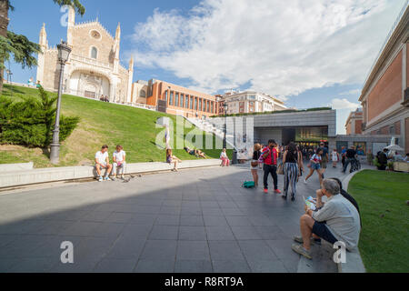 Madrid, Spain - Sept 12th, 2018: Los Jeronimos Gate at National Museum of the Prado, one of most important art gallery al over the world - Stock Photo