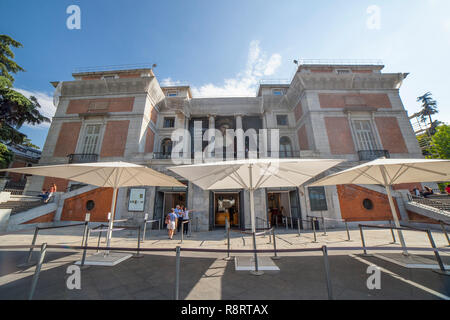 Madrid, Spain - Sept 12th, 2018: Ticket windows at north facade of National Museum of the Prado. Madrid, Spain. This is one of most important art gall - Stock Photo
