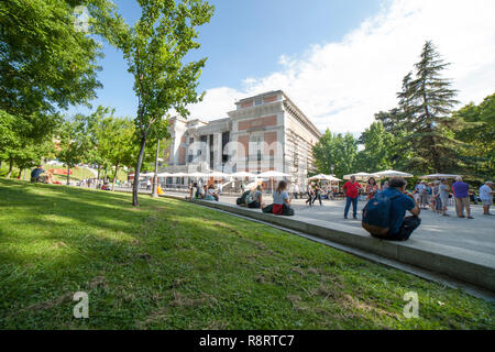 Madrid, Spain - Sept 12th, 2018: North facade gardens area of National Museum of the Prado. Madrid, Spain. This is one of most important art gallery a - Stock Photo
