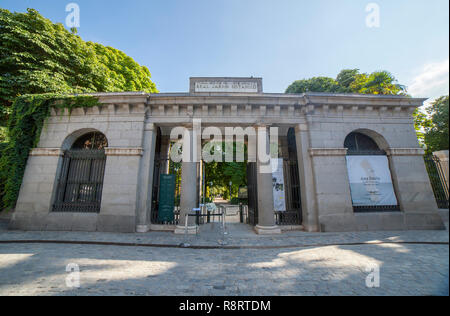 Madrid, Spain - Sept 12th, 2018: Entrance to Royal Botanical Garden of Madrid. Madrid, Spain. Located near to Prado Museum - Stock Photo