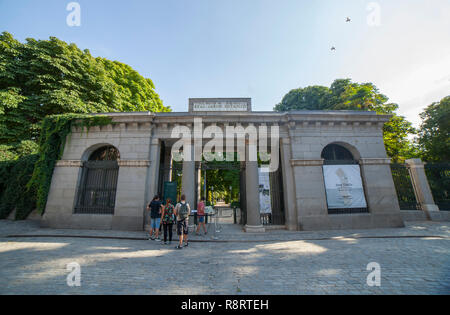 Madrid, Spain - Sept 12th, 2018: People entering to Royal Botanical Garden of Madrid. Madrid, Spain. Located near to Prado Museum, was designed by the - Stock Photo