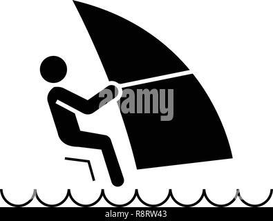 Windsurfing black vector concept icon. Windsurfing flat illustration, sign - Stock Photo
