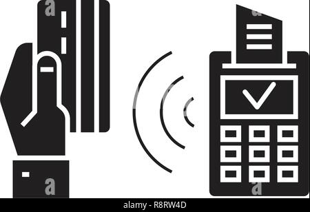 Wireless payment black vector concept icon. Wireless payment flat illustration, sign - Stock Photo