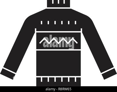 Wool sweater black vector concept icon. Wool sweater flat illustration, sign - Stock Photo