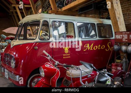 Topacz, Poland - October 13, 2018: Retro mini bus made in Poland in the 60s. Mikrobus Nysa N59M - Stock Photo