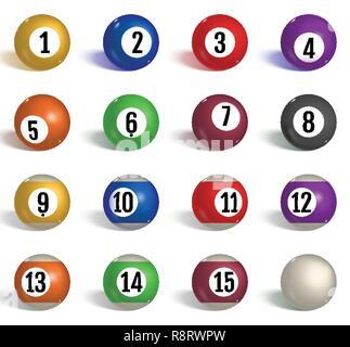 Billiard, pool balls collection. Snooker. Realistic balls on white background. Vector illustration. - Stock Photo