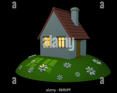 3d house on a hill on a black background - Stock Photo