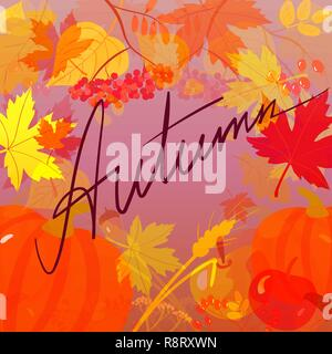 Handwritten word Autumn on the background with autumnal leaves - Stock Photo