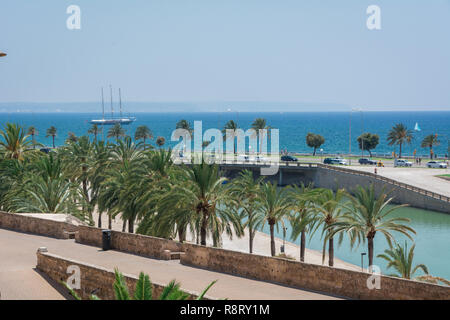 Palma de Mallorca, Balearic Islands, Spain - July 21, 2013: View of the streets of the city of Palma, the capital of the island of Majorca. - Stock Photo