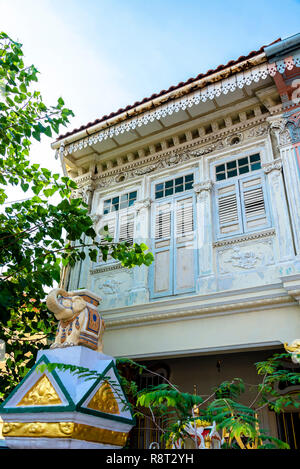 Architecture details of Koon Seng Road pastel hue traditional Paranakan shophouses, Katong, Singapore - Stock Photo