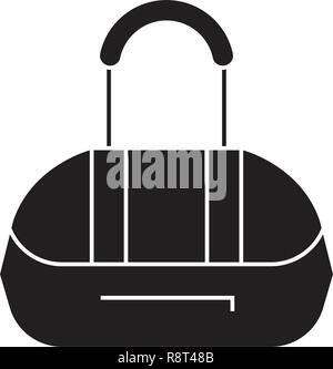 Athletic bag black vector concept icon. Athletic bag flat illustration, sign - Stock Photo