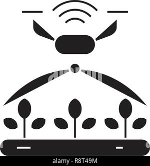 Automated irrigation black vector concept icon. Automated irrigation flat illustration, sign - Stock Photo