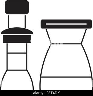 Bar chairs black vector concept icon. Bar chairs flat illustration, sign - Stock Photo